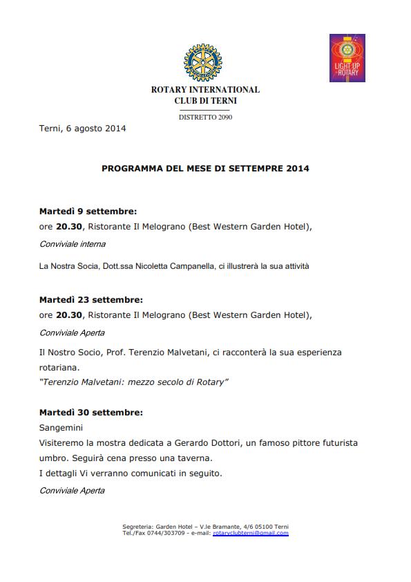 Rotary Club Terni - Programma Settembre 2014_001