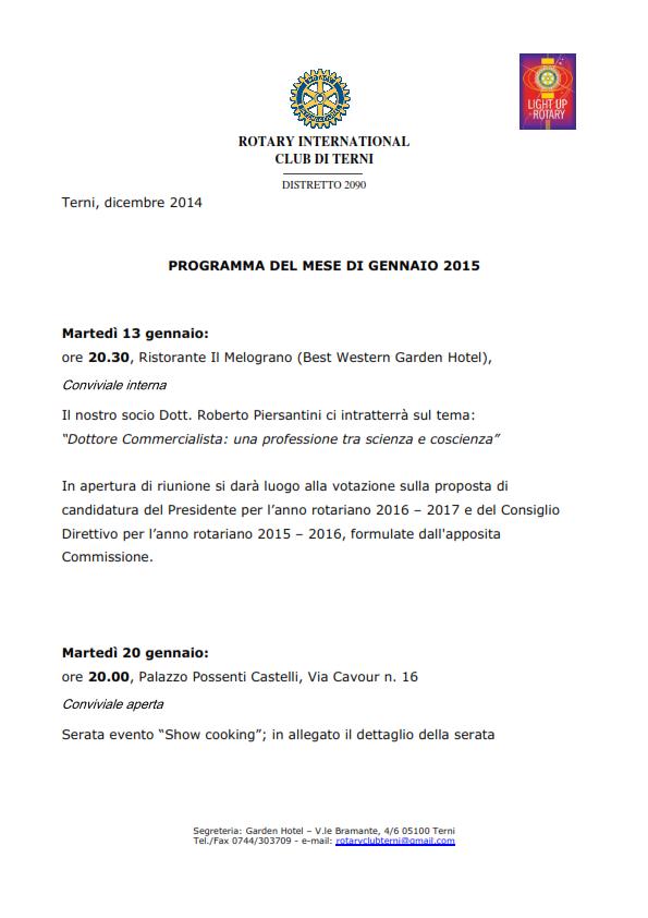 Rotary Club Terni - Programma Gennaio 2015_001