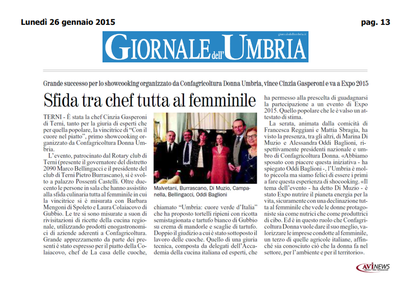 26 gennaio - showcooking confagricoltura donna - giornale_001