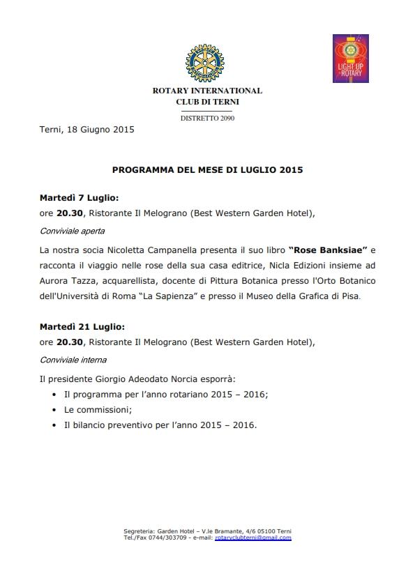Rotary Club Terni - Programma di Luglio 2015_001