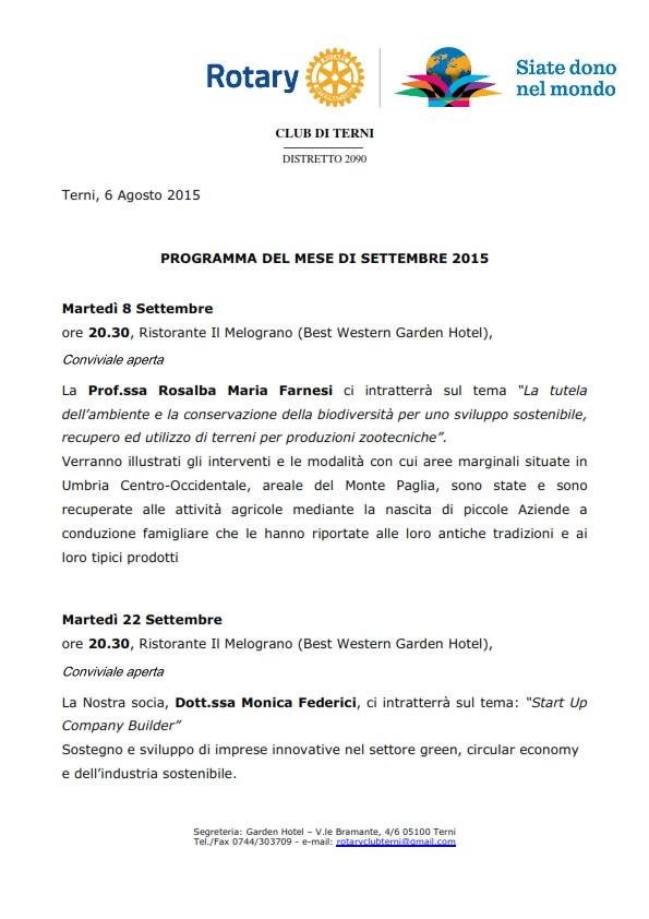 Rotary Club Terni - Programma Settembre 2015_001
