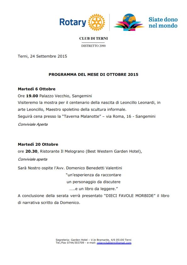 Rotary Club Terni - Programma Ottobre 2015_001