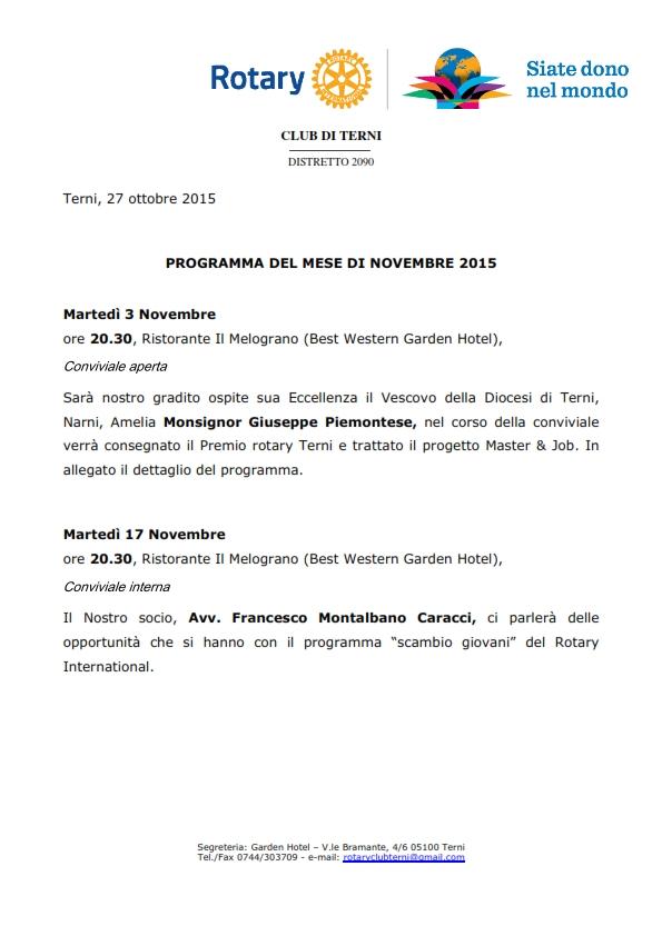 Rotary Club Terni - Programma Novembre 2015_001