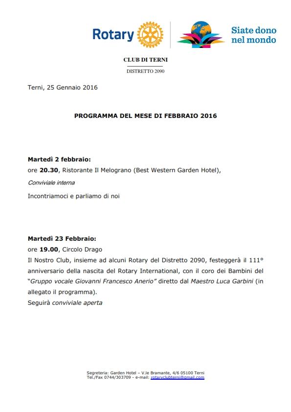 Rotary Club Terni - Programma Febbraio 2016_001