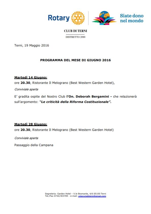 Rotary Club Terni - Programma Giugno 2016_001
