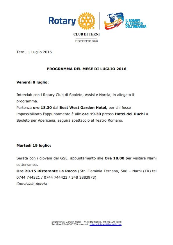 Rotary Club Terni - Programma Luglio 2016_001