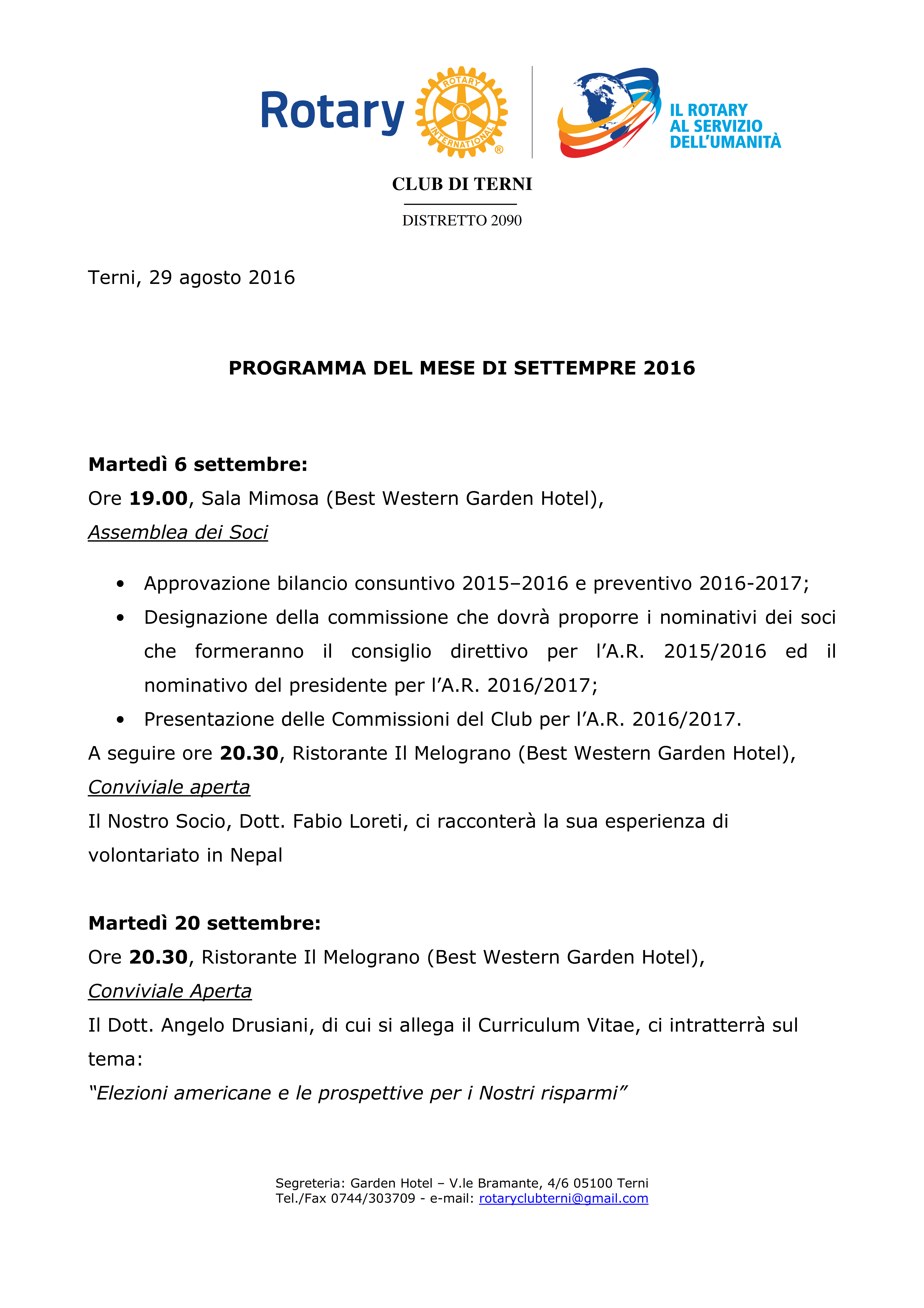 Rotary Club Terni - Programma Settembre 2016_001